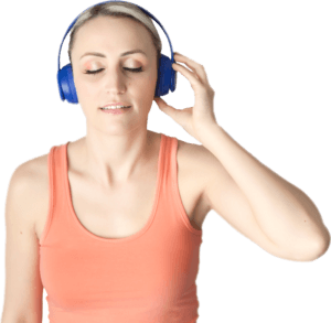 Woman listening to Lifetrack